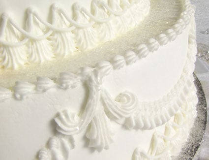 White frosted cake