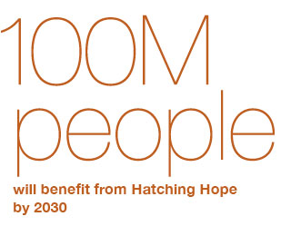 100m people will benefit from Hatching Hope by 2030