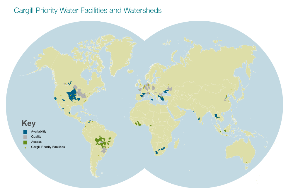 world map with key indicating availability quality access and Cargill Priority Facilities