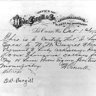 1880 document about move to La Crosse