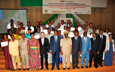 Recent cocoa cooperative executive graduates at a graduation ceremony in Abidjan.